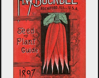 1897 H W Buckbee Seed and Plant Guide Catalog; NEW Giclee Art Print Poster; Vintage Garden; Heirloom Vegetables; Kitchen Wall Decor P148