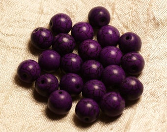 39cm env - synthetic, reconstituted Turquoise stone beads 37pc yarn balls 10 mm purple