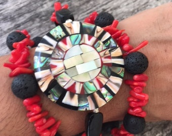Red Coral, Black Onyx and Mother of Pearl Bracelet