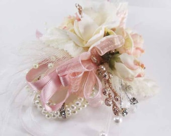 Small Child Size Pink Blush and Ivory Pearl Wrist Corsage for Flower Girl or Father Daughter Dance