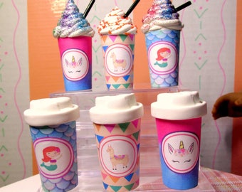 """American Food 18"""" Girl Doll Unicorn Mermaid Lllama Take Out Coffee Cups Starbucks Inspired Drink with Lid or Whip Unicorn Accessory Mermaid"""