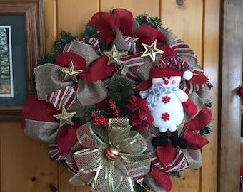"""14"""" Snowman  Wreath"""
