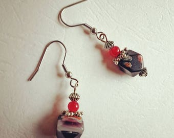 Earrings millefiori facets red and silver
