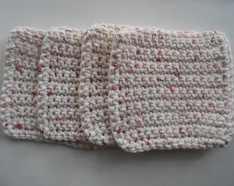 Jelly Dots Crochet Cotton Face Cloths- Wash Cloths- Coasters Set of Four
