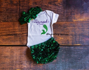 New mermaid in town infant girl bodysuit, baby girl bodysuit, baby girl outfit, infant outfit, mermaid outfit, mermaid bloomers mermaid baby