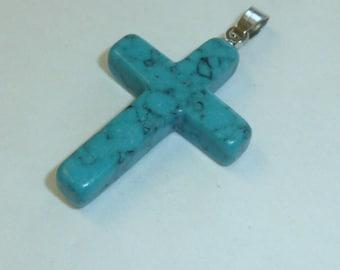 Vintage Blue Howlite Cross Pendant Natural Stone Necklace