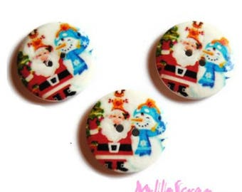 Set of 3 large buttons decorated Christmas scrapbooking embellishment 30 mm 5 *.