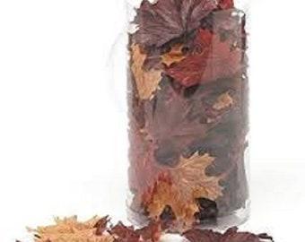 100 Piece Silk Screen Maple Leaves, Brown Mix, Fall, Autumn, Halloween Decor, Artificial,