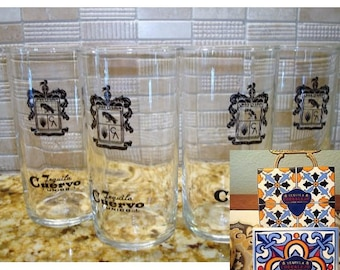 Jose Cuervo Tequila Cuervo Unico..! Glasses (4) & Corralejo Tequila Coasters (2) Great Vintage Condition!!