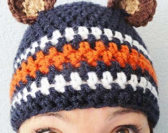 Go Bears Hat Hand-crocheted Chicago Bears Inspired Blue Adult Beanie with Ears By Distinctly Daisy