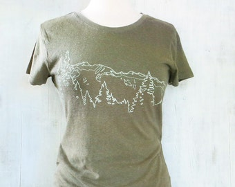 Womens Hemp Organic Cotton T-shirt with Mountain Ridge - Army Green - Outdoor Gift