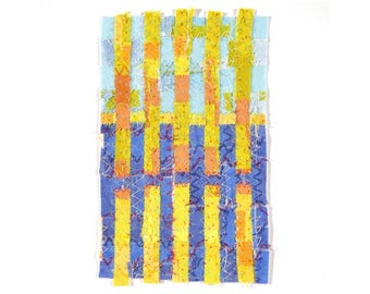 Framed Fabric Mixed Media Collage Textile Wall Art Stitched Framed Abstract Art Fragment Series 18-22