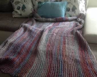 Colorful knitting blanket plaid for your bedroom or living room