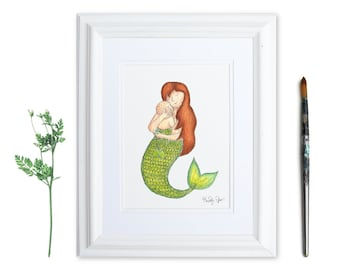 Watercolor Mermaid Painting for New Mom and Baby, Mermaid Nursery Art, New Mother's Day Gift, Baby Shower Gift, Ocean Themed Baby Room Art