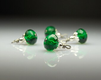 Vintage Style Bead Dangles Emerald Green Glass Set of Four G25