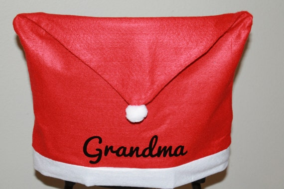 Outstanding Personalized Christmas Santa Hat Chair Covers Full Name Or Monogram Font And Color Options Squirreltailoven Fun Painted Chair Ideas Images Squirreltailovenorg
