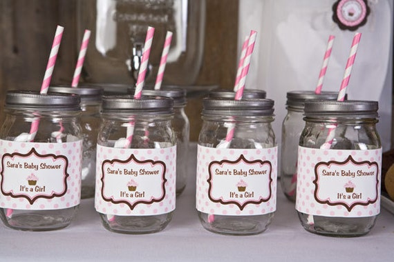 Items Similar To Baby Shower Water Bottle Labels   Sugar And Spice Party  Decorations   Pink U0026 Brown Cupcake Theme (12) On Etsy