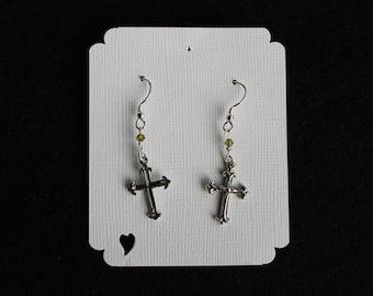 Sterling Silver Cross Earrings with Swarvoski Crystal on Sterling Silver Earwires