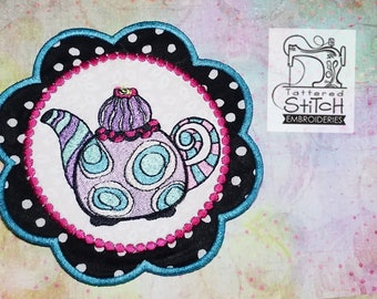 Whimsy Teapot 2 - Mug Rug/Coaster - Machine Embroidery Design. 5x7 In The Hoop Instant Download. In the hoop. Teapot Coaster Gift Giving
