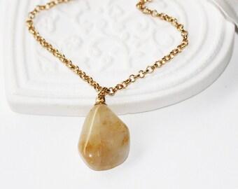 Necklace, pendant, crystal rutile, balance and harmony