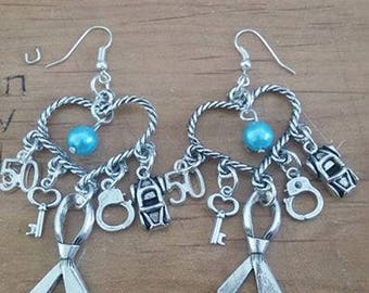 50 shades of Grey turquoise color love earrings variable