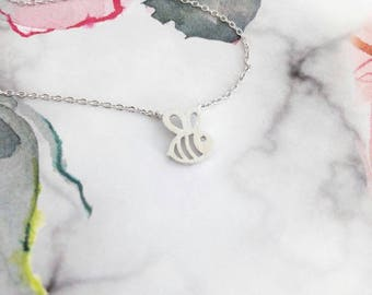 Silver Honey Bee Dainty Necklace