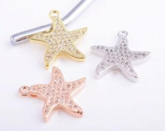 CZ starfish charm/pendant, gold/rose gold/silver micro pave starfish charm/pendant, 18MM*18MM