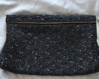 1940's ART DECO Clutch Black Beaded Purse for the Holiday Party Season
