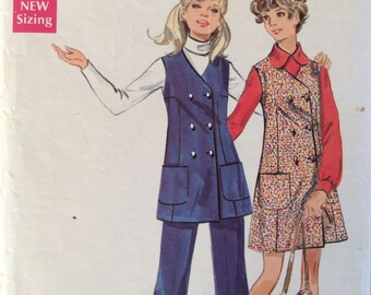Butterick 5479 junior misses jumper or tunic and pants size 11 bust 34 vintage 1960's sewing pattern