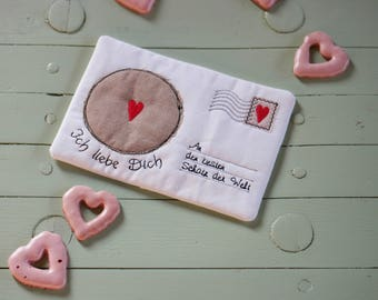 Embroidery file 25, 5x14, 5-Love letter Mug Rug ith