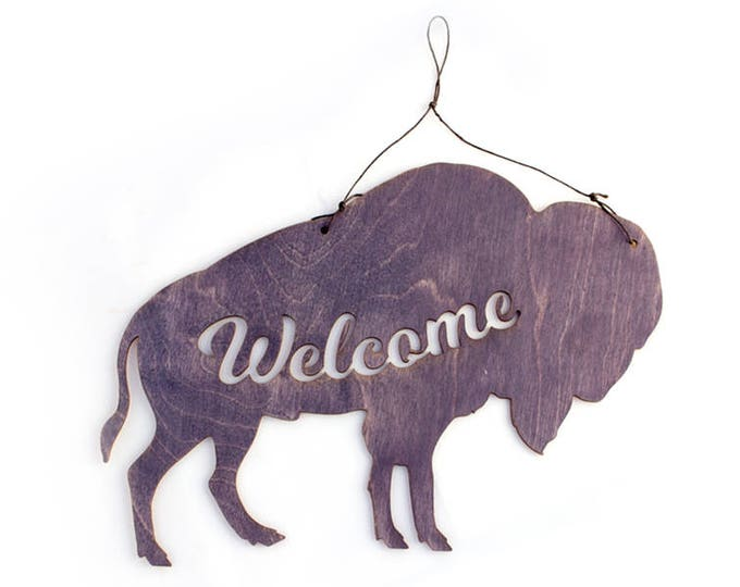 Bison Welcome Sign - Mountain Wall Art - Bison Decor - Welcome Home Art - Bison Gift - Bison Art - Welcome Sign - Mountain Gift - Rustic
