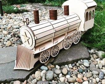 Wooden Gift wrap-lokomotive 3d puzzle ,CNC ,decoration,decorative ,rack for wine,cdr file ,wood, vector graphic,lasercut