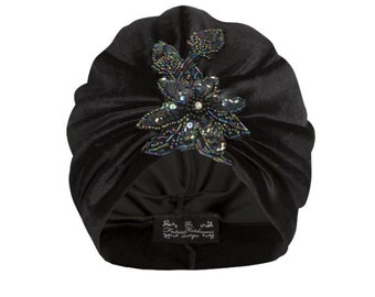 Black Velvet Turban with Iridescent Bead Floral Applique