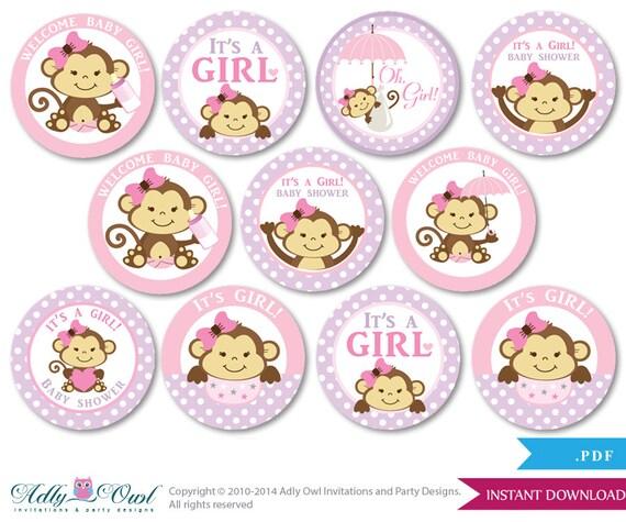 Lovely Girl Monkey Cupcake Toppers For Baby Shower Printable DIY