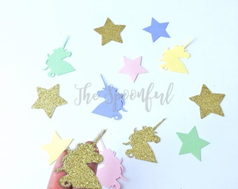 Gold Glitter and Rainbow Colored Unicorn  and Star Confetti, Unicorn Confetti, Star Confetti