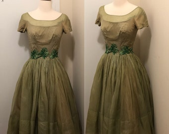 Vintage Green 1960's Party Dress
