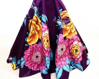 Purple, Pink, Teal & Yellow Floral High Waist Maxi Skirt In African Print Fabric With Pockets