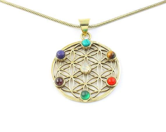 Chakra Flower Of Life Necklace, Sacred Geometry Pendant, Geometric, Yoga Jewelry, Festival Jewelry, Boho, Bohemian, Gypsy, Hippie, Spiritual