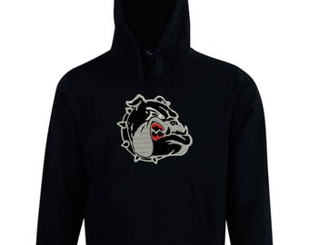 Embroidered Bulldog design fleece hoodie made just for you. Embroidery applique personalized custom made to order.