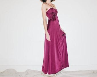 Vintage 1970's Berry Maxi Dress || Empire Waist Halter Dress || Disco Maxi Gown
