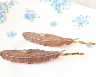 Copper Feather Hair Pins - Copper Feather Bobby Pin - Woodland Hair - Wedding Hair Pins - Bridal Hair Accessory - Golden Copper Feather