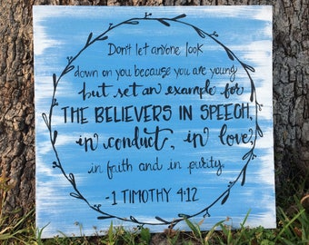 1 Timothy 4:12 Scripture Sign
