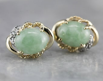 Mid Century Jade Stud Earrings, Jade and Diamond Earrings, Vintage Stud Earrings M0DFA2-R
