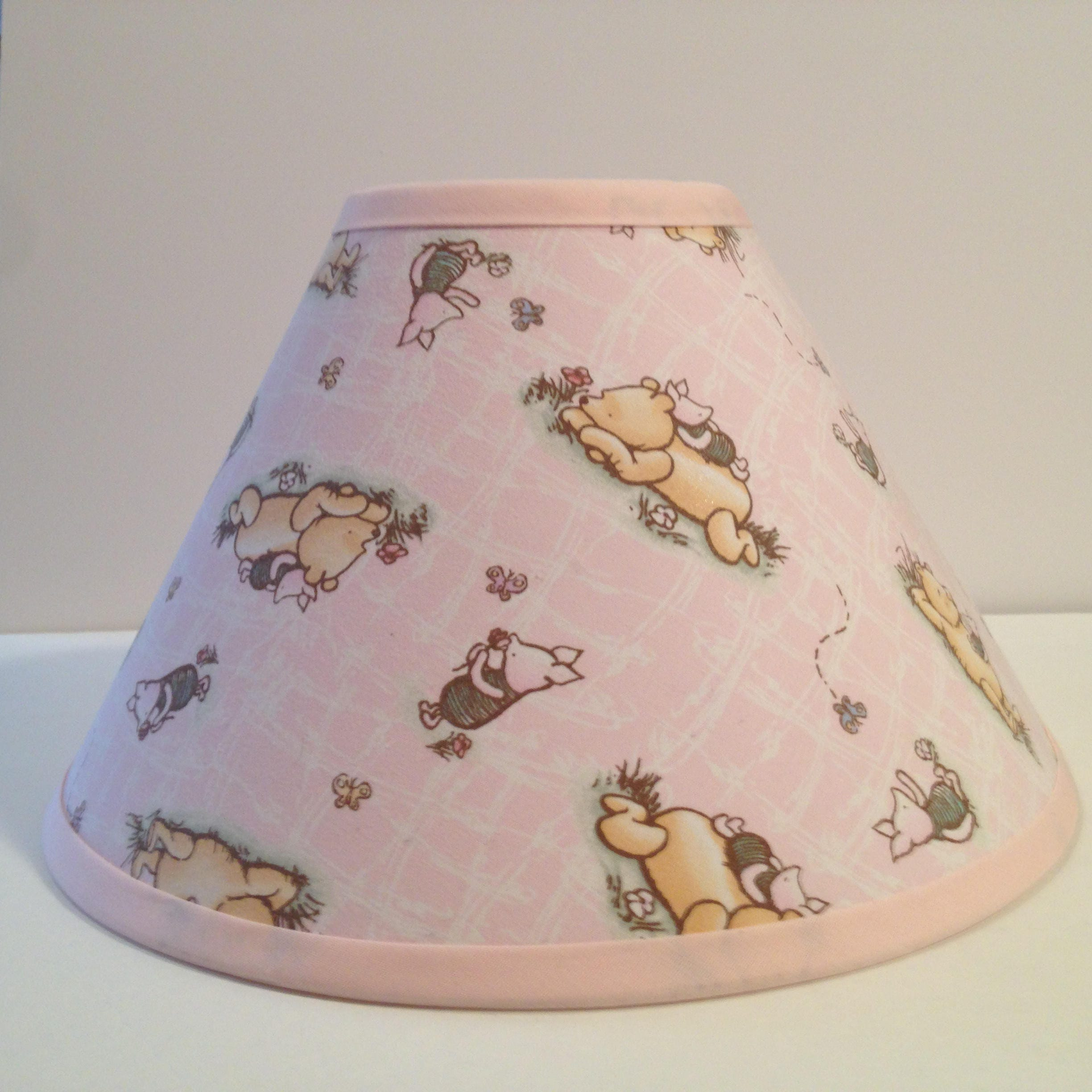 Classic winnie the pooh pink fabric nursery lamp shadebaby shower classic winnie the pooh pink fabric nursery lamp shadebaby shower gift lampshadebaby gift mozeypictures Images