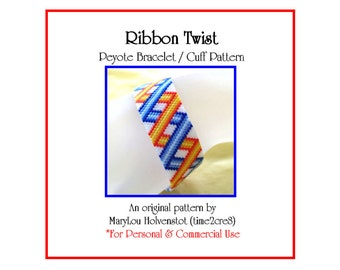 Peyote Bracelet Pattern ... RIBBON TWIST ... Folded Ribbon . Geometric . Narrow . Bonus Pattern . Modern . Simple . Chic . Stripes . 3 for 2