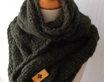 Chunky Winter Scarf Big Cabled Moss Green Cowl Hand Knitted