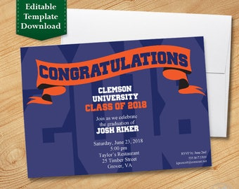Blue and Orange Graduation Invitation Template, High School Graduation Invitation, College Graduation Invitation, Graduation Party 2018