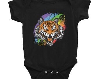 Hip Rainbow wildlife Tiger Cub Roaring  infant Bodysuit