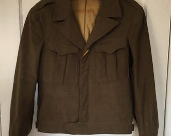 Vintage Military Jacket Wool cropped WWII Korea with tie and patches 40s 50s