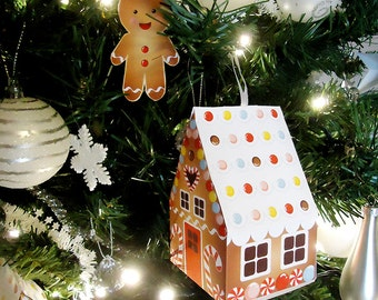 Christmas paper Gingerbread house and gingerbread kids tree ornaments/mini favor box-Printable Template, craft decorations-INSTANT DOWNLOAD